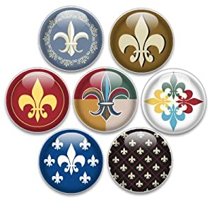 Decorative Push Pins or Magnets 7 Small Fleur de Lis