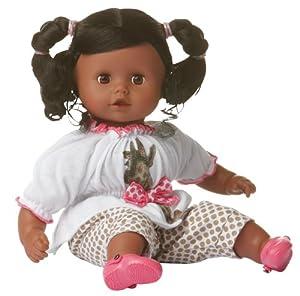 gotz muffin baby doll 33cm black hair soft body