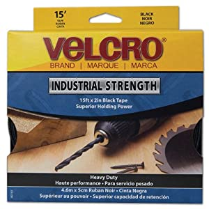 Velcro Industrial Strength Sticky-Back Hook & Loop Fasteners, Black, 2inX15 Foot Roll (VEK90197)