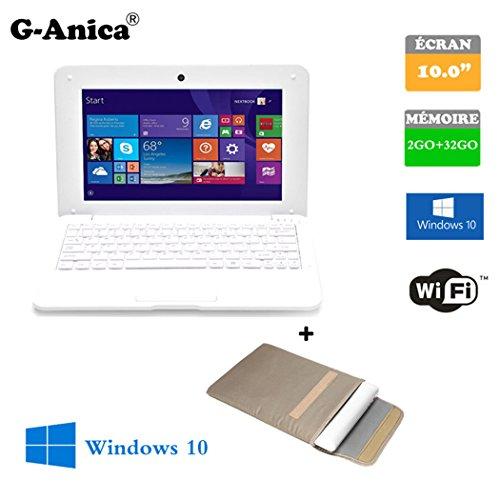 Tablette ordinateur portable Netbook Windows-10 HDMI écr 10 (Wifi-SD-MMC) RAM 2GBo ROM 32GBo+ Laptop-Tasche (weiß)