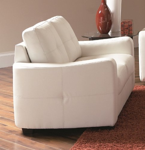 Loveseat with Stitched Design in White Leatherette