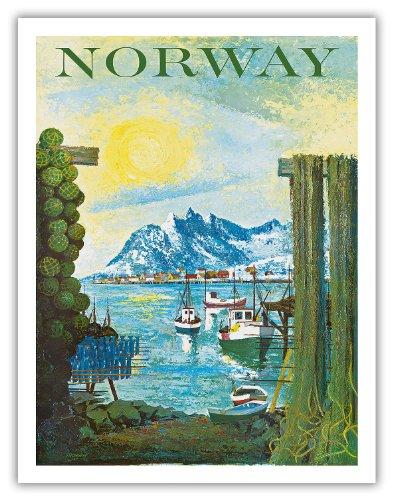 Norway - Scandinavia - Boats in Fishing Village - Vintage Travel Poster Plakat Kunstdruck Reise Tourismus Plakat by Thorsen c.1940s - Fine Art Print - 20in x 26in
