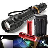 New CREE 5000 Lumens XML-T6 Rechargeable LED Flashlight Torch +18650 Battery+Charger,Free Shipping