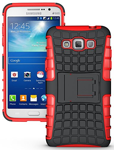 NAKEDCELLPHONE'S RED GRENADE GRIP RUGGED TPU SKIN HARD CASE COVER STAND FOR SAMSUNG GALAXY GRAND MAX PHONE (SM-G7200