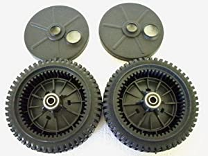 Set of 2, Original FSP Lawn Mower Wheel Kit 193144, Includes 2 Dust Covers # 189403. Has Metal Bushings, Not Plastic. by Craftsman, Poulan, Husqvarna, Wizard