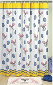 EASTER Bunny SHOWER CURTAIN bathroom bath room tub bathtub holiday home decor fabric
