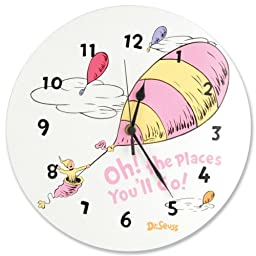 Trend Lab Dr.Seuss Wall Clock, Oh! The Places You\'ll Go Pink