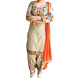 Reet Glamour Women 's Cotton Unstitched Wheat With Orange Punjabi Suit