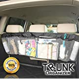 Yozzy Trunk Organizer Auto Car Interior Removable Storage Mesh Backseat- Multipurpose and Foldable Five Pocket Cargo Net Organizers in Black- Arrange Everything You Need NOW!