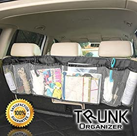 Trunk Organizer Car Auto Interior Removable Storage Mesh Backseat for Cars, Trucks, Van and Suv- Cool, Fun and Foldable Five Pocket Cargo Net Organizers in Black- Arrange Everything You Need from Baby, Golf, Business - 100% Money Back Guarantee