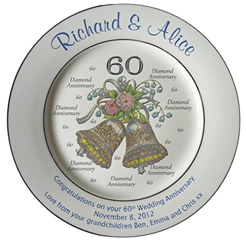 Personalized Bone China Commemorative Plate For A 60th Wedding Anniversary - Wedding Bells Design With 2 Silver Bands