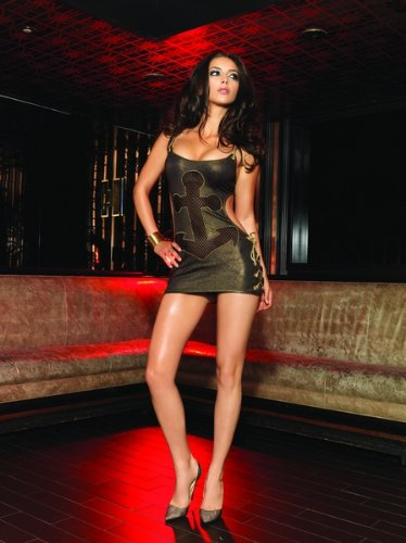 Gold foil spandex mini dress w/cut out fishnet anchor