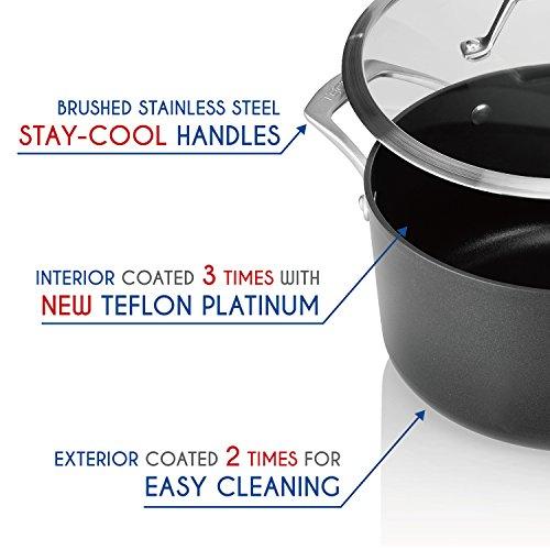 TECHEF - Onyx Collection - 5-quart Soup Pot with Glass Lid, coated with New Teflon Platinum Non-Stick Coating (PFOA Free) (5-quart)