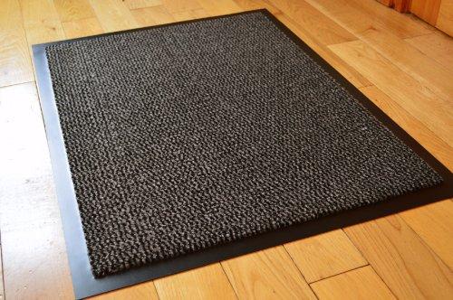 Fußmatte, PVC, Gummi-Antirutsch-Beschichtung, 60 x 80 cm, Grau / Schwarz