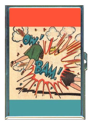 Catfight Comic Book Pop Art ID Holder, Cigarette Case or Wallet: MADE IN USA!