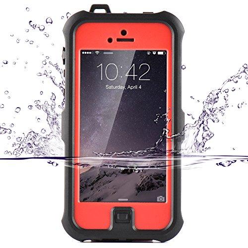(ゼットウィイ-)ZVE iphone se ケース、iphone5s/se/5c用ケース アイフォンカバー 防水 耐衝撃 防塵 液晶保護フィルムを付き (iphone5S/SE/5C レッド)