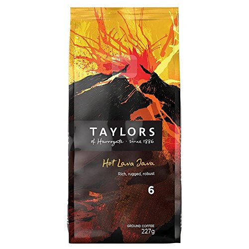Taylors of Harrogate Hot Lava Java Mahlkaffee Extra Dark Roast (227g) - Packung mit 6
