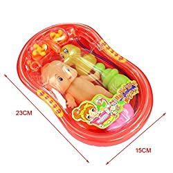 Imported Orange Plastic Bathtub with Baby Doll Bath Toy Set