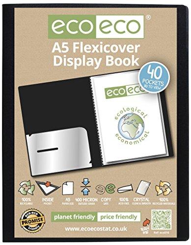 Eco-eco, 100% carta riciclata, formato A5, 80, 40 tasche View-Raccoglitore per presentazioni, colore: nero