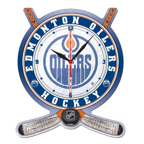 NHL Edmonton Oilers Hockey Stick and Puck High Definition Clock