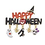 Lux Accessories Black n Orange Enamel Happy Halloween Witch Hat Charm Brooch Pin