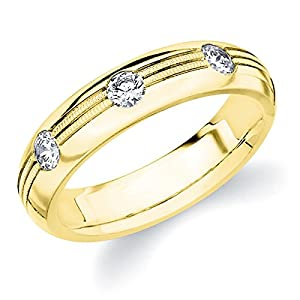 18K Yellow Gold Diamond Bezel Eternity Ring (1.0 cttw, G-H Color, SI1-SI2 Clarity) Size 5.5
