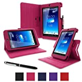 rooCASE Asus MeMO Pad HD 7 Case - ME173X Dual View Muti Angle Stand Folio Cover - MAGENTA (With Auto Wake / Sleep Cover)