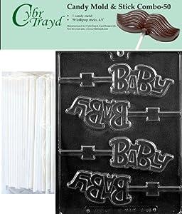Cybrtrayd 45St50-B055 Baby Lolly Chocolate Candy Mold with 50 Cybrtrayd 4.5 Lollipop... by CybrTrayd