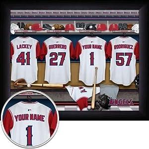"Los Angeles Angels of Anaheim MLB Customized ""Locker Room"" 11"" x 14"" Photograph - Black Frame"