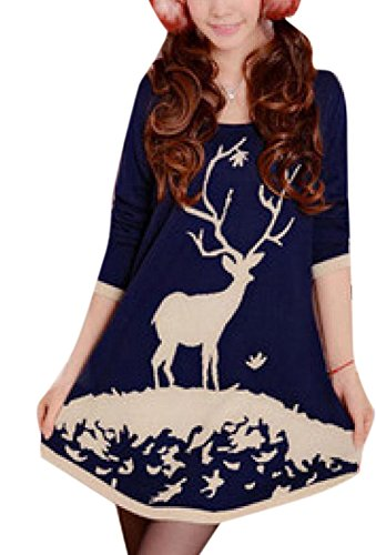 Long Oversized Christmas Deer Sweater Pullover Dress Blue