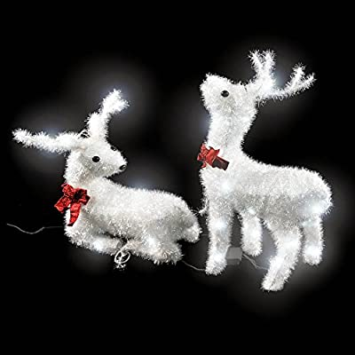 2x LED outdoor reindeer with bow tie By TecTake