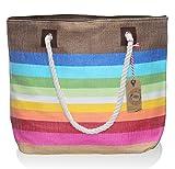 "Large Zipper Top Stripe Straw Look Beach Bag Tote - 20""x15""x6"" (Bright Multicolor Stripe)"