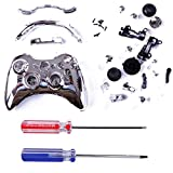 HDE Custom Replacement Wireless Game Controller Shell Case Cover Kit for Xbox 360 - Includes Button Set, Torx & Phillips Head Screwdrivers (Silver)