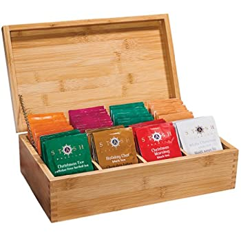 Bamboo Tea Chest with Holiday Teas