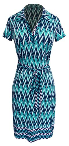 Peach Couture® Retro Chevron Print Self Tie Belted Short Sleeve Shift Dress (Xl, Turquoise/Navy)