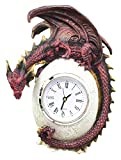 Decorative Ferocious Red Ember Dragon Protecting Egg Table Clock Figurine For Desktop Statue Mythical Fantasy Collectible