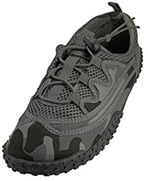 Men\'s Laced Up Camouflage Water Shoes - Aqua Socks for Pool, Beach, Lake, Yoga, Exercise with Drawstring - Available in 2 Styles (12, Gray Camouflage)