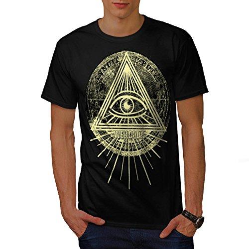 Illuminati Triangolo Occhio Prisma Uomo Nuovo Nero M T-Shirt | Wellcoda