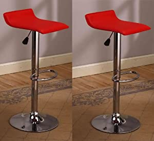 King's Brand 9009R Air Lift Adjustable Bar Stool with Vinyl Seat, Red and Chrome Finish,... by King's Brand