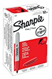 Sharpie Permanent Markers, Fine Point, Red, 12-Count