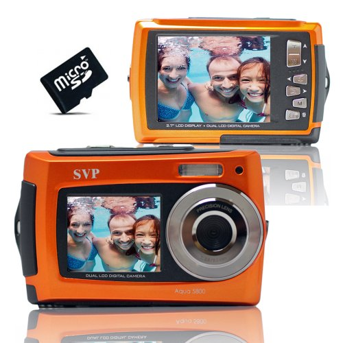 Aqua 5800 Orange (with Micro 8GB) 18 MP Dual Screen Waterproof Digital Camera