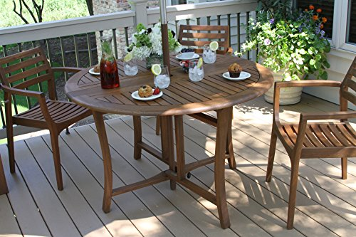 Outdoor Interiors Round Folding Table, 48-Inch, Brown (Outdoor Folding Dining Table compare prices)