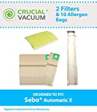 Sebo Vacuum Automatic X Kit: 10 Bags & 2 Filters, Fits X1, X1.1, X2, X3, X4, X4 Extra, X5, X5 Extra, XP2 & XP3, Compare to Part # 5828ER, Designed & Engineered by Crucial Vacuum
