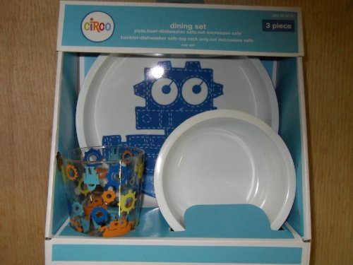 Circo 3 Piece Dining Set Robots Blue Plate, Bowl, And Cup