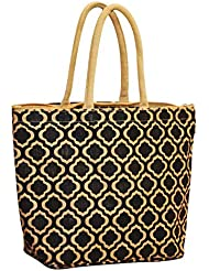 EARTHBAGS Quatrefoil Print Natural Jute Bag With Zipper Closure