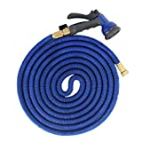 FOCUSAIRY 50 Feet Expanding Heavy Duty Expandable Strongest Garden Water Hose with Shut Off Valve Solid Brass Connector and 8-pattern Spray Nozzle (50 Feet, Blue)