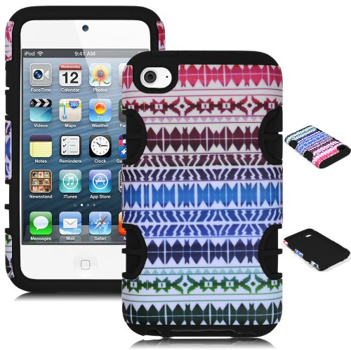 Bastex Heavy Duty Hybrid Case For Touch 4, 4Th Generation Ipod Touch - Black Silicone / Rainbow Chevron Tribal Aztec Hard Shell front-794201