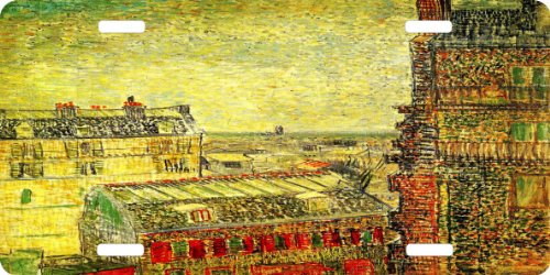 Rikki Knighttm Van Gogh View Paris From Vincents Room License Plate front-581781