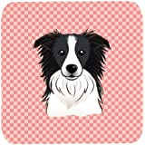 "Caroline's Treasures BB1241FC Checkerboard Pink Border Collie Foam Coaster (Set Of 4), 3.5"" H X 3.5"" W, Multicolor"