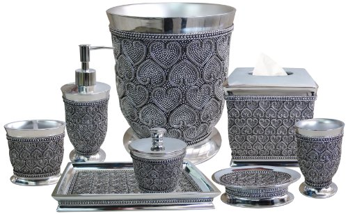 nu steel Beaded Heart 8-Piece Bath Accessories Set